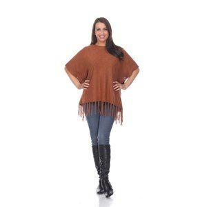 REVERSIBLE FRINGED PONCHO TOP BROWN 649-04 O/S